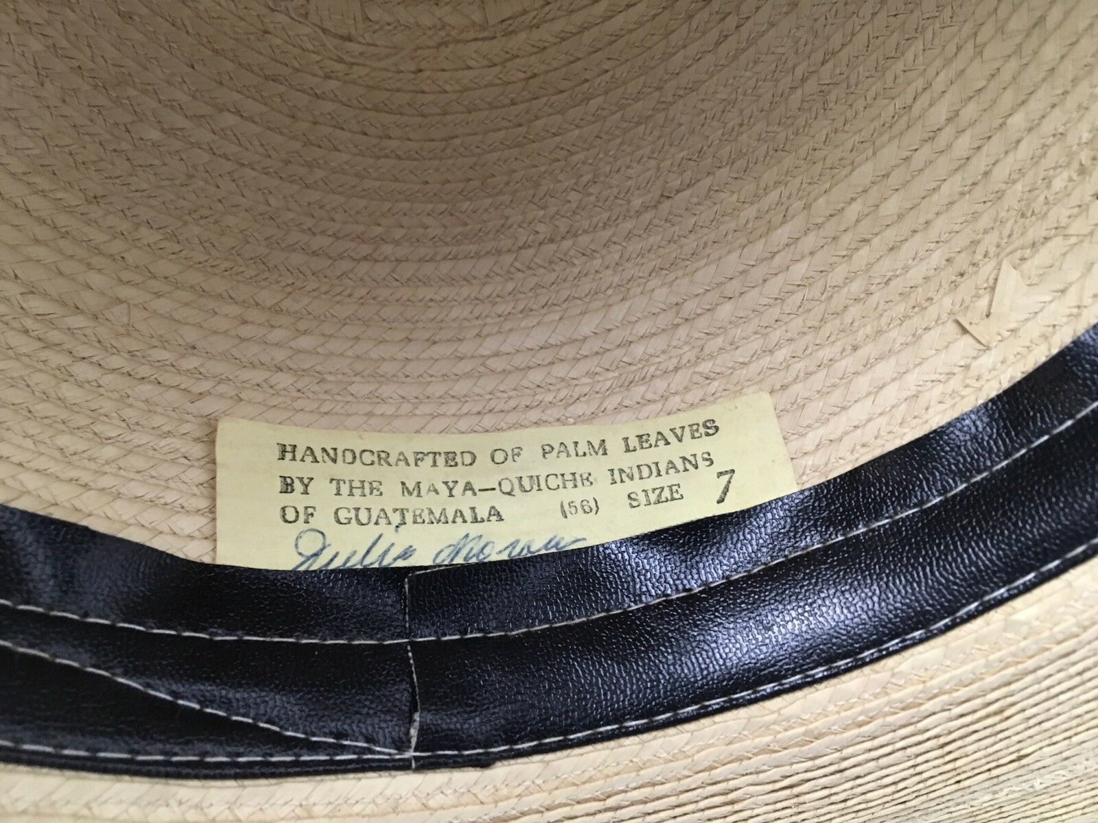 Vintage Sun Hat Palm Leaves Wide Brim Handcrafted Maya Quiche Indians 7 Signed