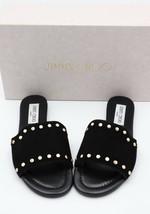 NIB Jimmy Choo Nanda Studded Black Suede Slides Sandals 6 36 - $274.52