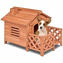 PETSJOY Pet Cat Dog House, Wooden Dog Cat Room Shelter with Porch & Fenc... - $101.79