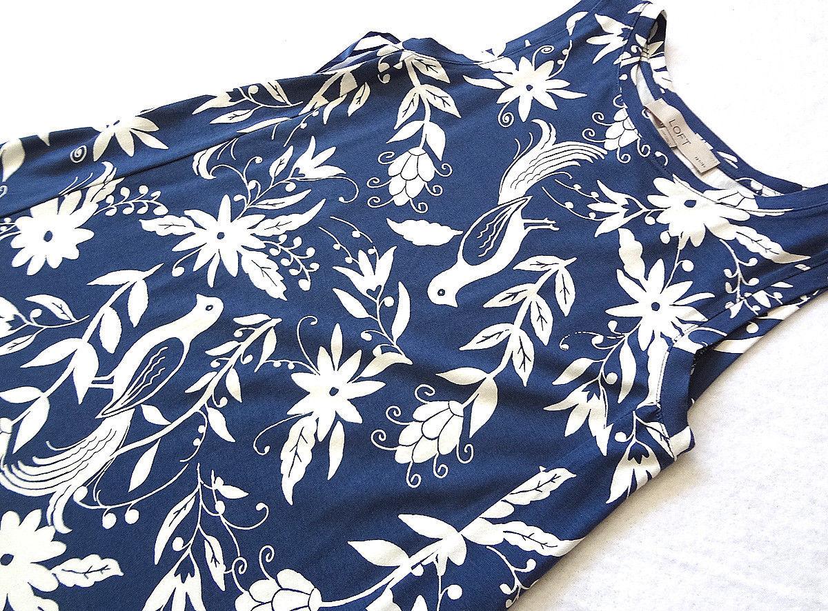 LOFT Women's Dress Petite XXSP Navy w. White Floral Bird Rayon Blend - New!