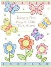 Butterfly Birth Announcement baby cross stitch chart Kooler Design Studio - $12.60