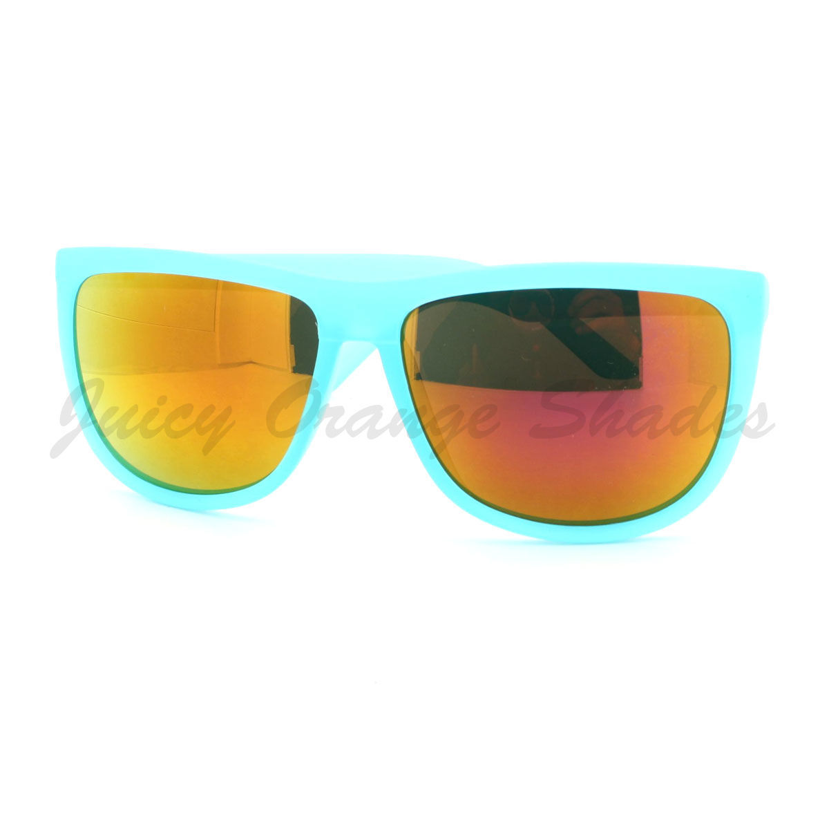 Oversized Square Sunglasses Matted Bright Summer Colors Multicolor Lens
