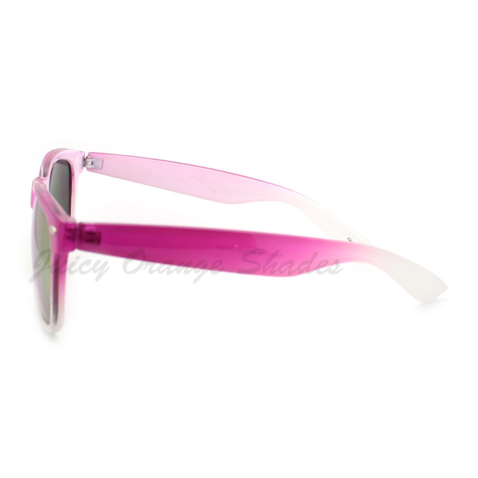 Classic 80's Horn Rim Sunglasses Color Fade Frames Mirror Lens