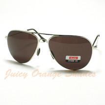 New Lightweight Classic Flat Top Aviator Sunglasses Men/Women Silver/Black Lens - $6.88
