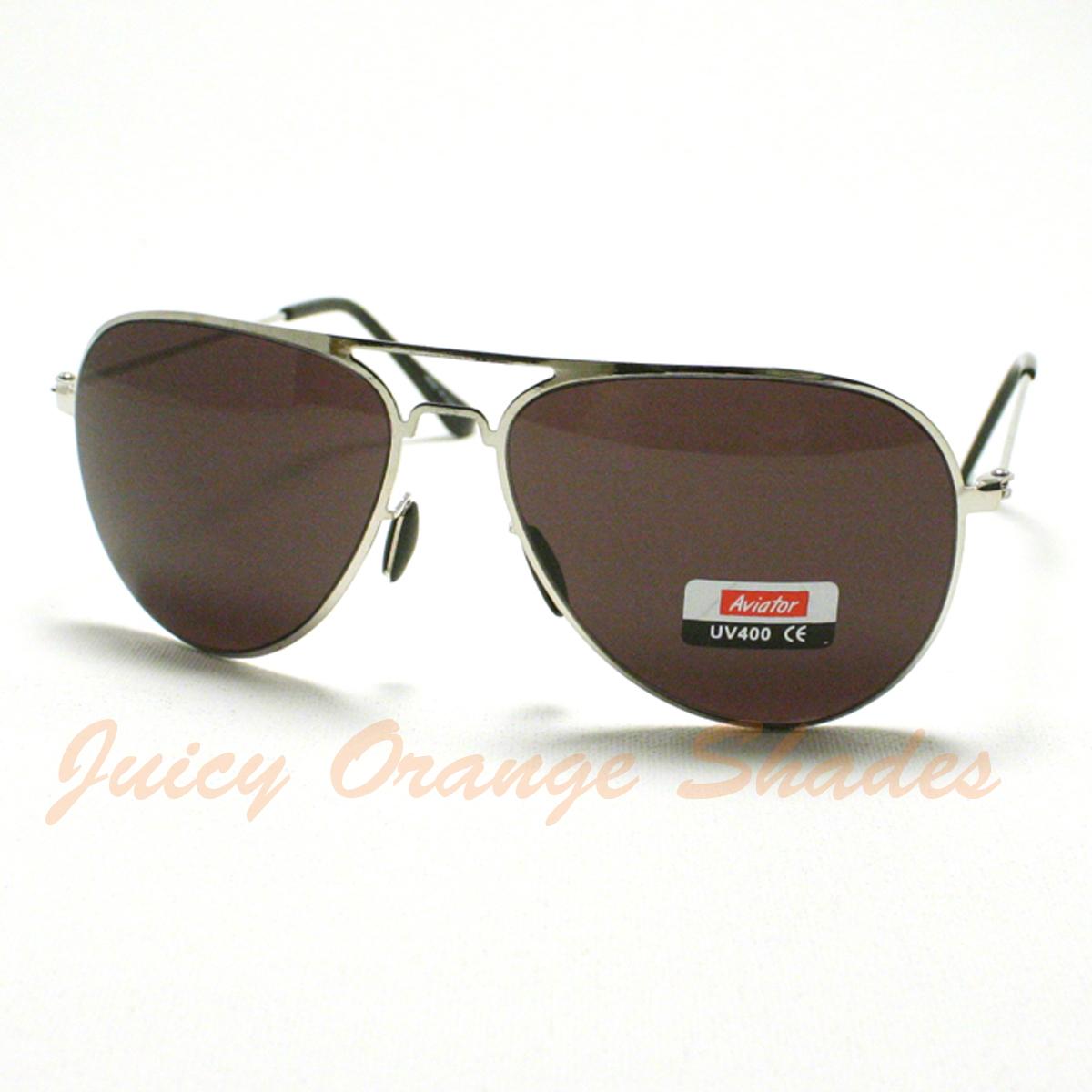 New LIGHTWEIGHT Classic FLAT TOP AVIATOR Sunglasses Men/Women SILVER/BLACK Lens