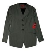 A/Line Women's Blazer Jacket Gray Size 6 Blue Pinstripe Black Lining 3 B... - $19.97