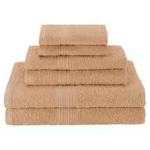 6pc Camel Ring Spun Combed Cotton Soft and Absorbent Bath, Hand, Face To... - $39.95