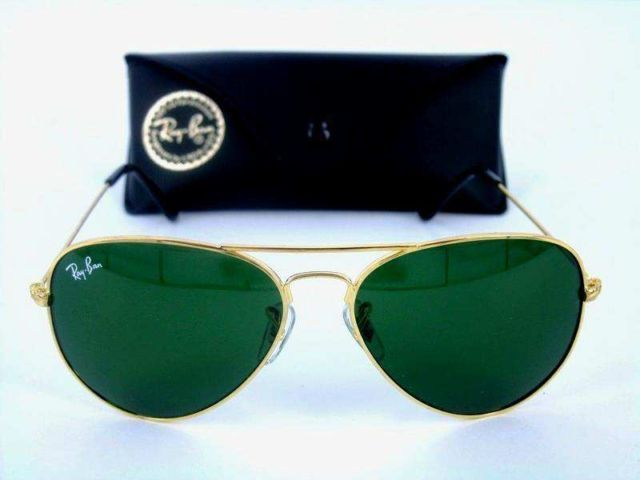Brand New Ray-Ban®  RB3025 Gold/Green Aviator Unisex Sunglasses