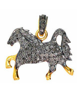 Horse Victorian Inspired 1.25Ct Rose Cut 925 Sterling Silver Diamond Pen... - $294.60