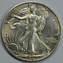 1942 S Walking Liberty silver half dollar AU/BU details - $37.50