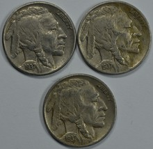1937 P D S Buffalo circulated nickels  Total of 3 coins - $30.00