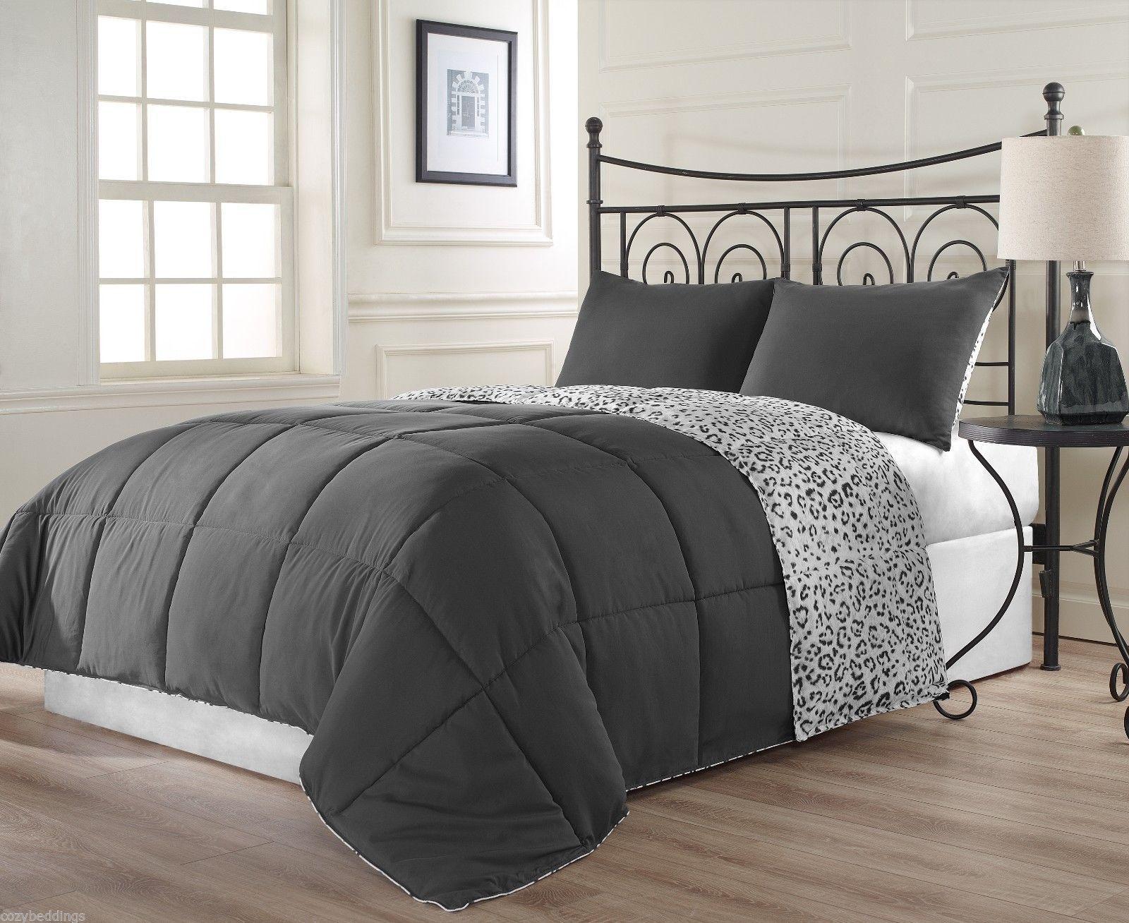 snow leopard twin size bed 3pc reversible charcoal grey white comforter set comforters sets. Black Bedroom Furniture Sets. Home Design Ideas
