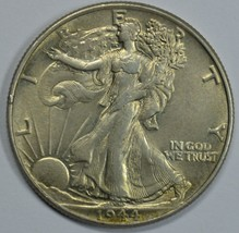 1944 P Walking Liberty silver half dollar AU details - $27.50