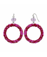 Mixit Color Women's Drop Earrings Pink Glass Beads Silver Tone French Wi... - $19.79