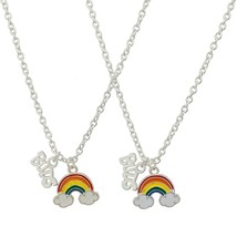 Lux Accessories Rainbow Clouds Best Buds Matching BFF Best Friends Neckl... - $21.99