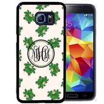Monogrammed Rubber Case For Samsung S9 S8 S7 S6 S5 Plus Cute Green Frogs - $14.98
