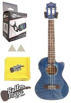 Lanikai QM-BLCET Blue Quilted Maple Cutaway A/E Tenor Ukulele with Tuner... - $389.00