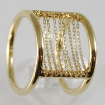 18K YELLOW GOLD BAND RING WITH MULTI WIRES DIAMOND CUT CHAINS, MADE IN ITALY image 2