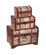 Set of 3 Wooden Storage Chest & Vintage Trunks, Victorian Map Print (Lar... - $148.99