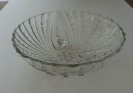 Anchor Hocking Vintage Burple Lge Berry Clear Serving Bowl Pressed W/ Ri... - $14.84