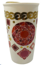 Starbucks Gems and Jewels Travel Mug 12 Oz Red Pink Shiny Gold With Gold... - $18.80