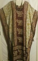 Caftan Dress Brown Yellow Elephant Print Plus Size 2X to 4X Free Shipping - $18.69