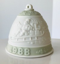1988 Lladro Christmas Bell Ornament Green Santa with Reindeer Porcelain No Box - $12.59
