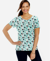 JM Collection Womens Top Green Print Short Sleeve Jersey Knit Shirt Size... - $14.79
