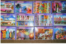 Lot of 5 New 300 Piece Jigsaw Puzzles Mystery Lot Animals~Landscapes~Foo... - $22.75
