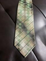 Van Heusen Men's Silk Tie Necktie Stain Resistant Green Brown Gold Geome... - $7.42