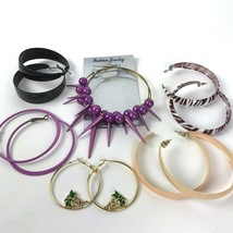 Earring Lot Vtg and more colorful pierced mod Boho bohemian hoops statement - $12.86