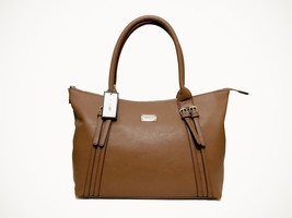 NEW Nine West Beyond The Belt Zipped Brown Faux Leather Pleather Tote Bag - $74.80
