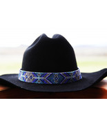 Navajo Native American Style Wide Hat Band Beaded Hatband - $210.00