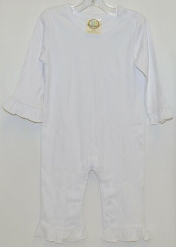 Blanks Boutique Long Sleeve White Snap Up Ruffled Romper 12 months