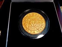 MEXICO 1715 FLEET ROYAL 8 ESCUDOS GOLD PLT PENDANT DOUBLOON COB TREASURE... - $495.00