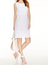 Anne klein Dress Sz 4 Optic White Sleeveless Eyelet Business Dinner Work... - $49.44