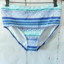 Lands End Bikini BOTTOMS ONLY Electric Blue Bombay Stripe Swim Suit, SIZ... - ₹979.96 INR