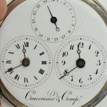 Courvoisier&Comp French silver 2 time zones Captain VERGE FUSEE Calendar... - $12,530.00