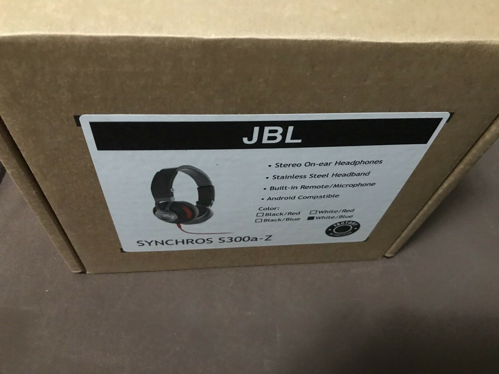 JBL Synchros S300A - On Ear Headphones w mic- Blue/White