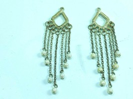 Vintage Silvertone Faux Pearl Dangle Earring Charms Drop 32064 - $19.79