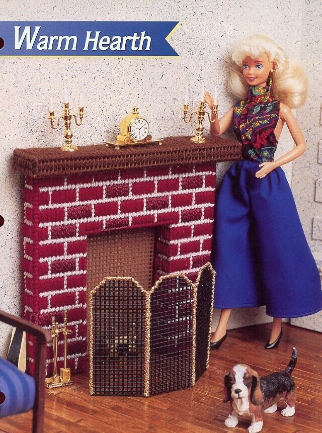 Warm Hearth fits Barbie Doll Annie's Plastic Canvas Pattern Leaflet NEW