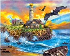 """Sunset Cove Lighthouse 16X20"""" Paint By Number Kit DIY Acrylic Painting on Canvas - $8.99"""