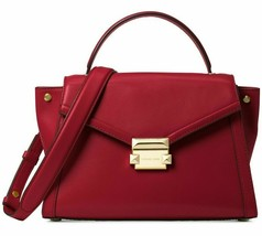 Michael Kors NEW $298 Whitney Top Handle Satchel Maroon Leather Crossbody Gold X - $147.51