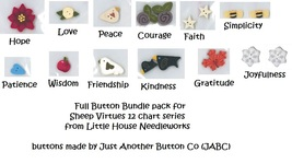 BUTTON BUNDLE for 2013 Sheep Virtues charts JABC Just Another Button Co - $27.00