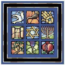 Judaic Stained Glass jewish cross stitch chart Kooler Design Studio - $15.30