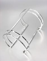 MODERN CHIC Sculptural Silver Ribbed Metal Long Cuff Bracelet - $21.99