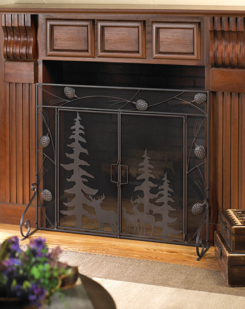 fireplace screen with forest scene western