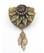 Vintage Czech Style Brass Rhinestone Leaf Dangle Dress Clip - $19.79
