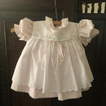 Petit Ami Hand Embroidered Infant Girl's Light Pink & White Dress Size 1... - $47.52