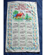 VINTAGE 1979 LINEN CALENDAR KITCHEN TOWEL GOD BLESS OUR HOME - $14.80